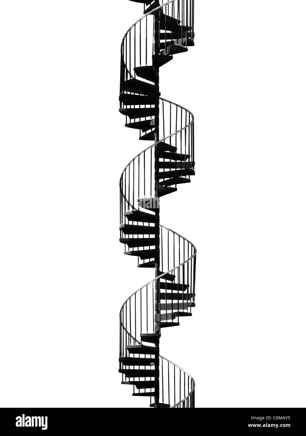 Front Elevation Of Spiral Staircase : Metal spiral staircase shot against white background stock