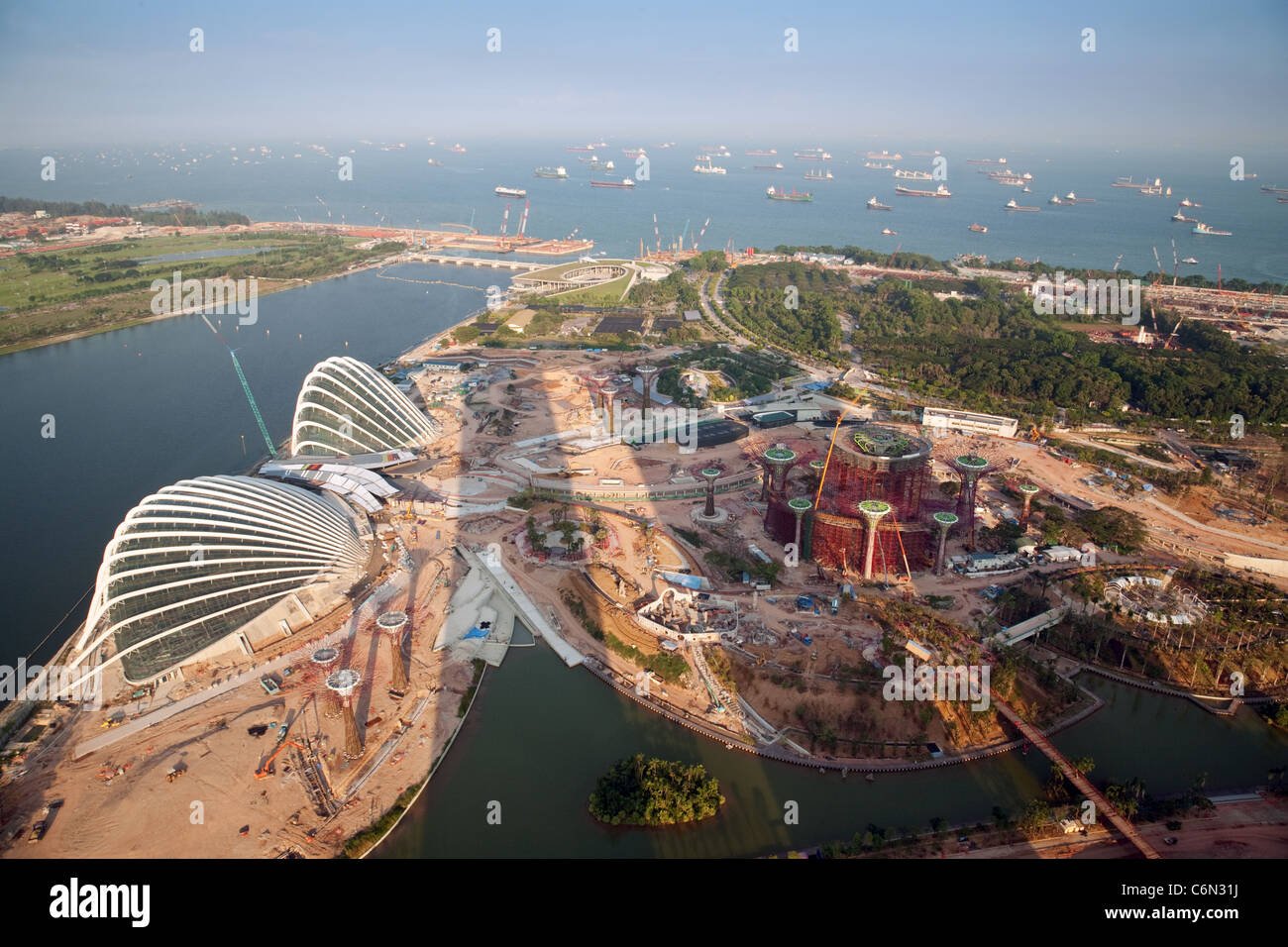 Land reclamation and new building in singapore seen from for Soil reclamation