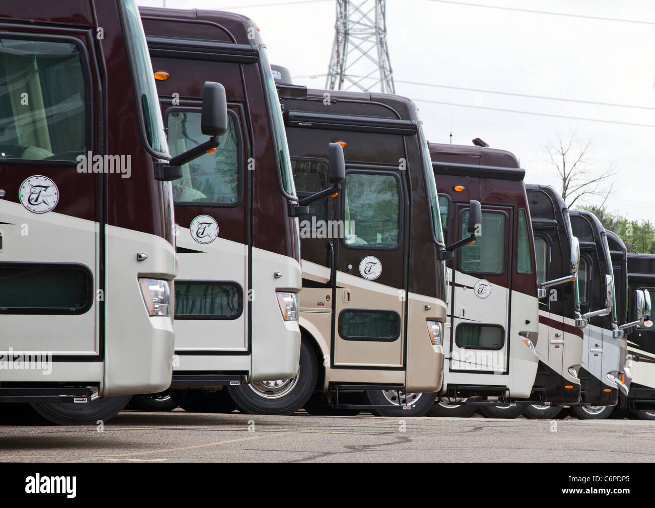 Wixom, Michigan - Luxury recreational vehicles on sale at an RV ...