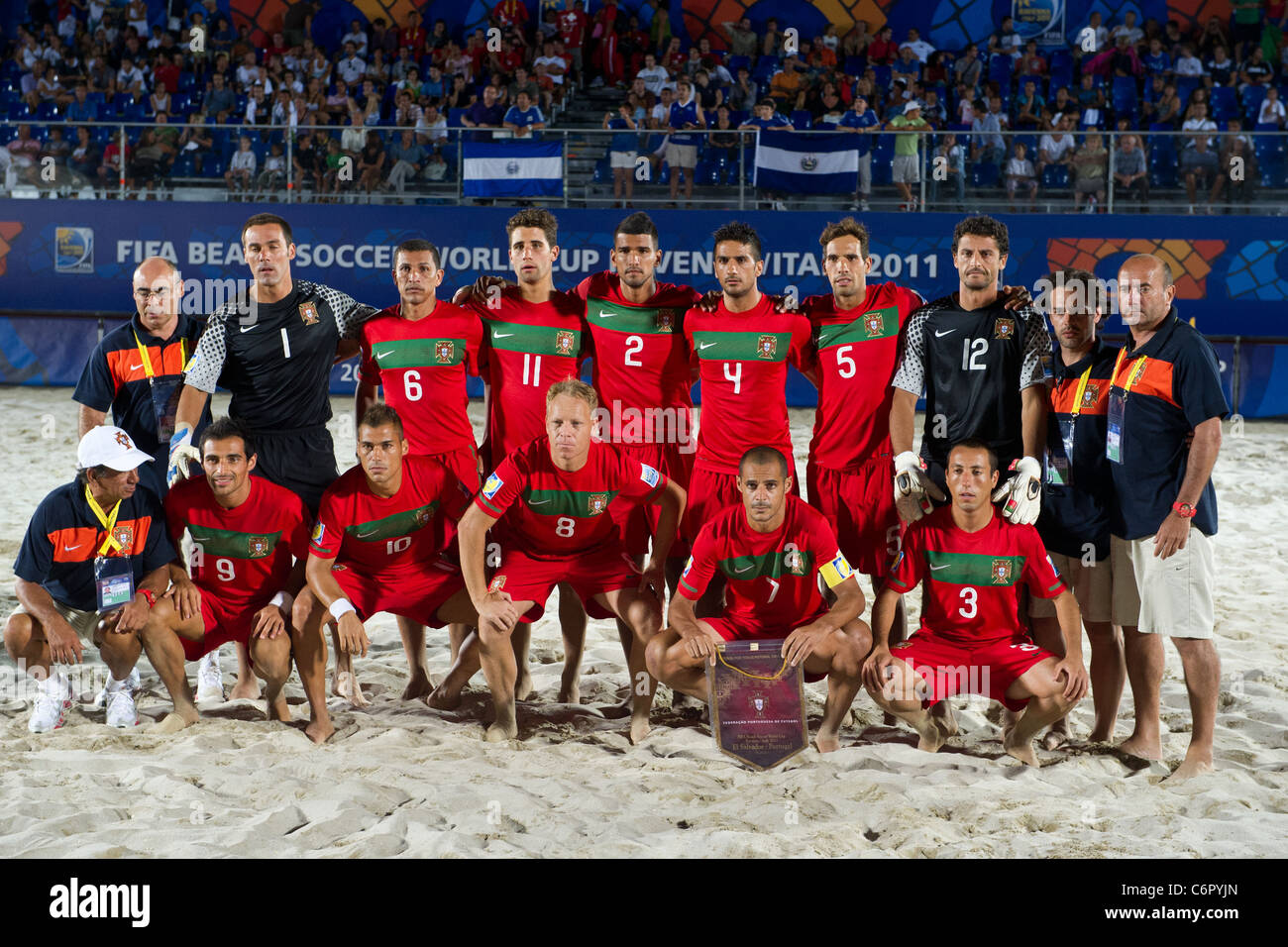 Portugal Team Group Line Up For Fifa Beach Soccer World Cup Ravenna Italy  Group B Match El Salvador   Portugal