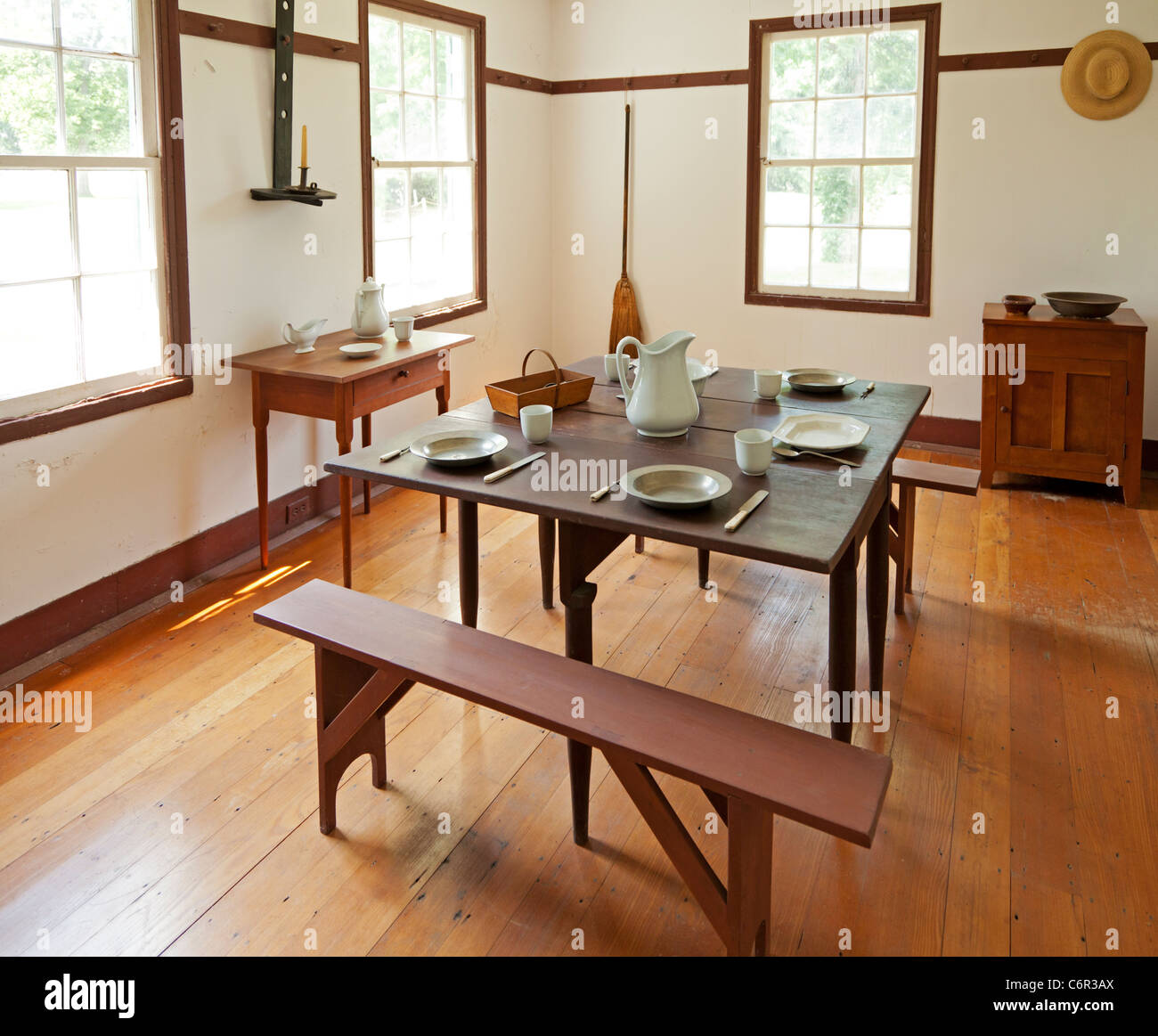 dining room interior in a shaker home stock photo, royalty free