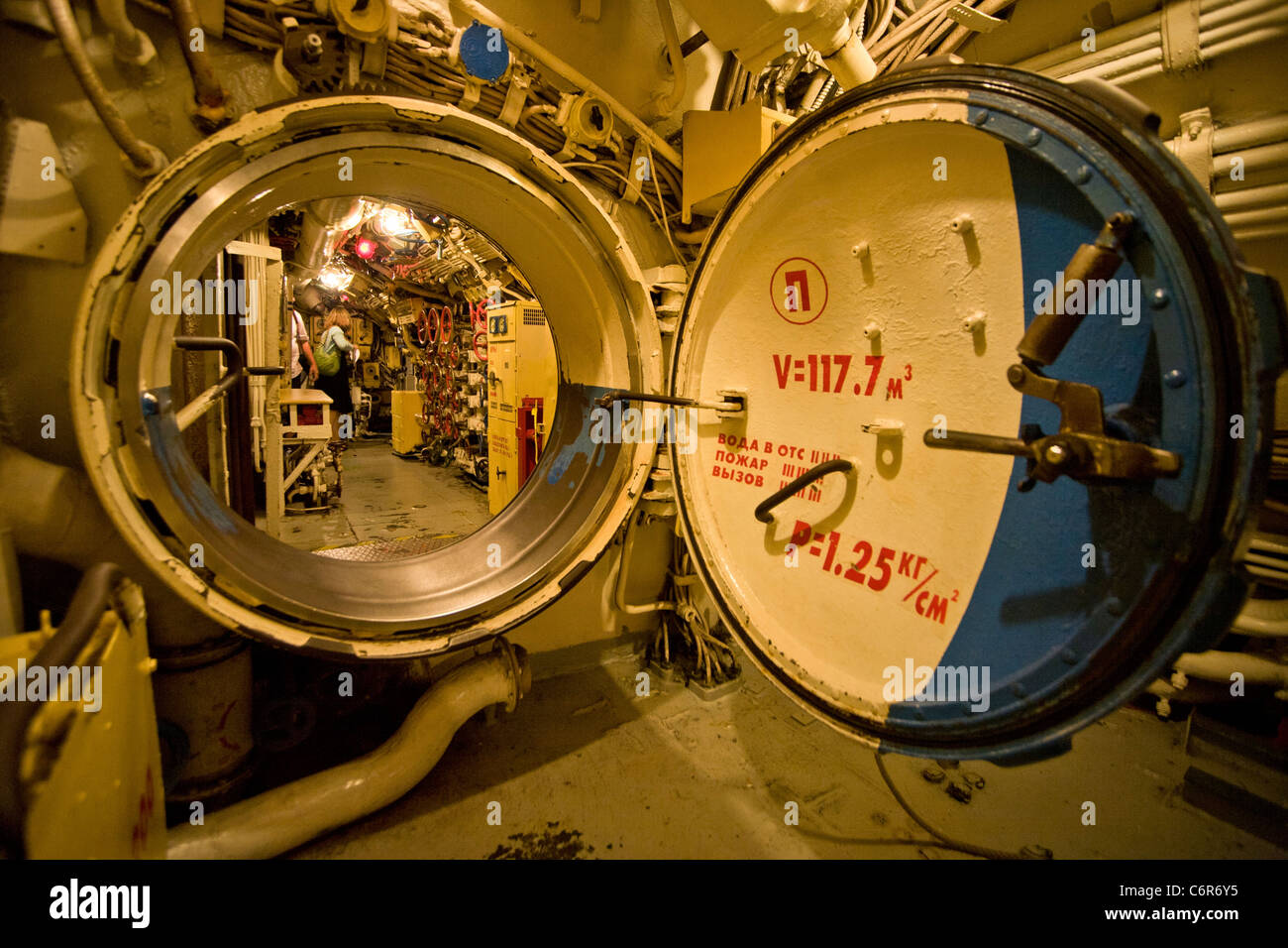 An open watertight door of the Soviet diesel-electric attack submarine B-39 gives access to the vessel\u0027s control room & An open watertight door of the Soviet diesel-electric attack Stock ...