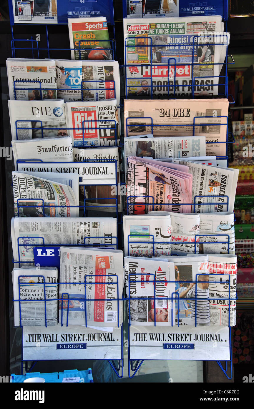 international newspaper rack outside newsagent regent st city  - international newspaper rack outside newsagent regent st city ofwestminster london greater london england united kingdom