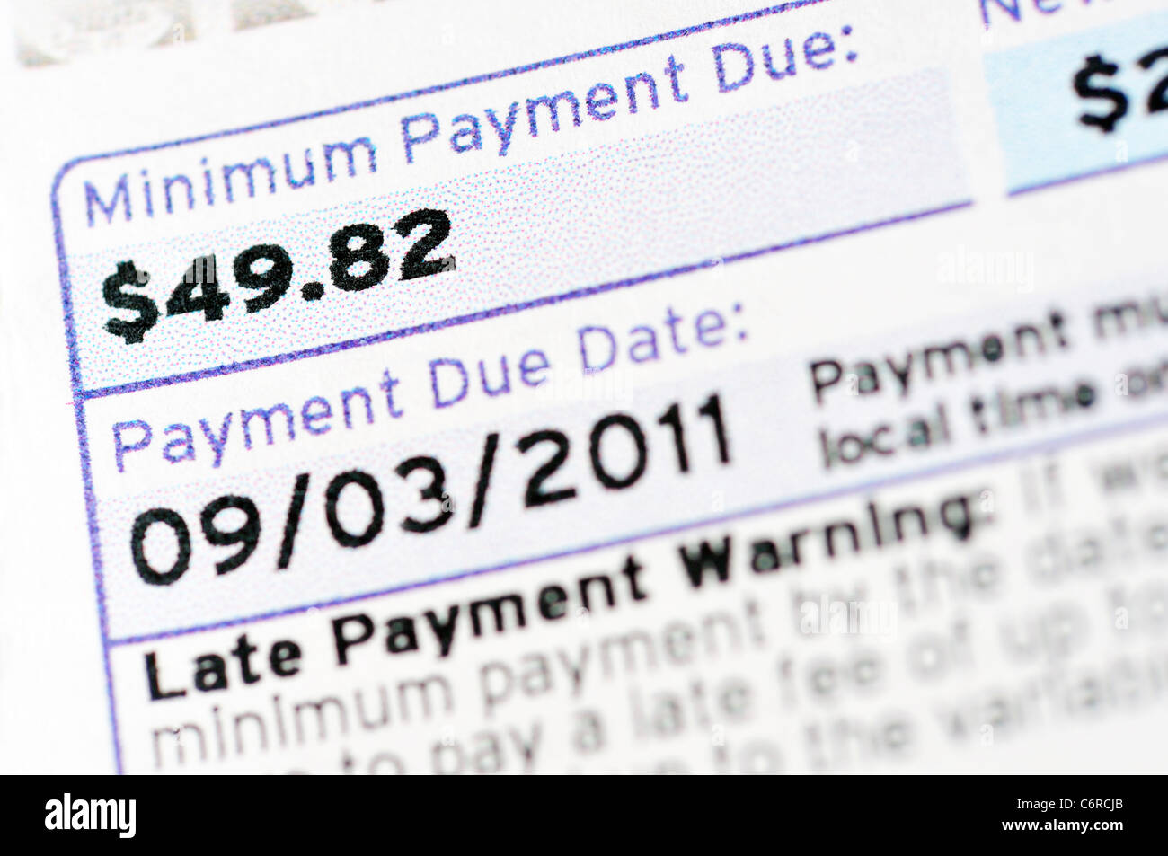 Credit card bill statement and Minimum payment due Stock Photo ...