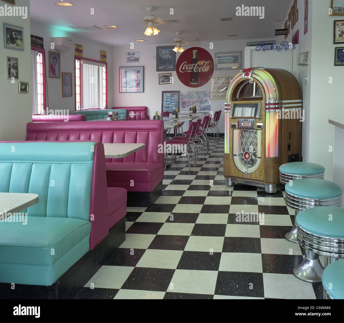 Interior Of Mr D Z Diner Kingman Arizona With Classic