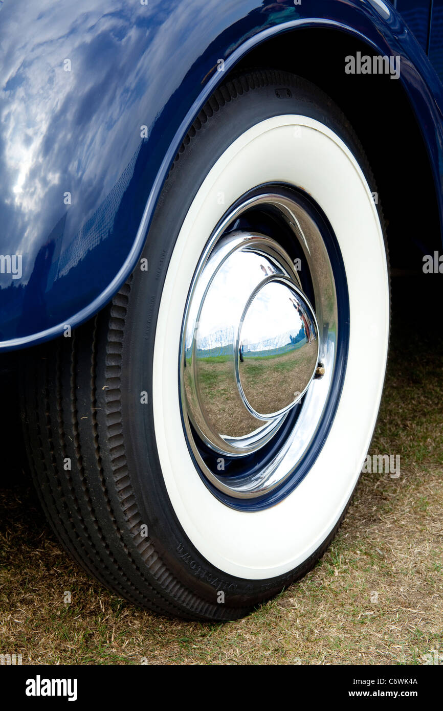 classic car motor show white wall tire chrome hub cap us us stock image