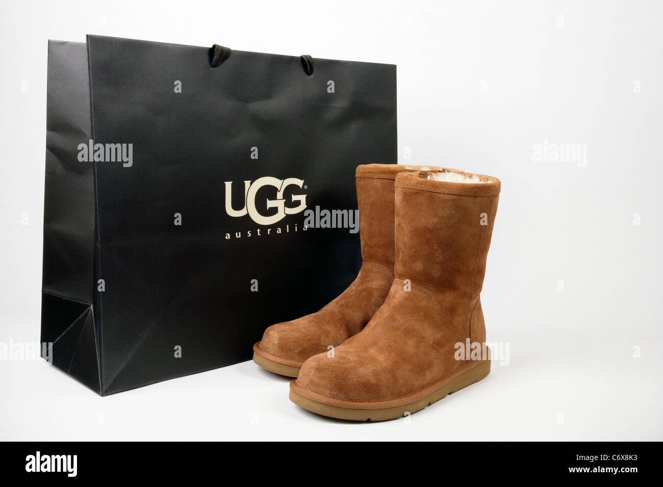 Ugg boots with original shopping bag Stock Photo, Royalty Free ...