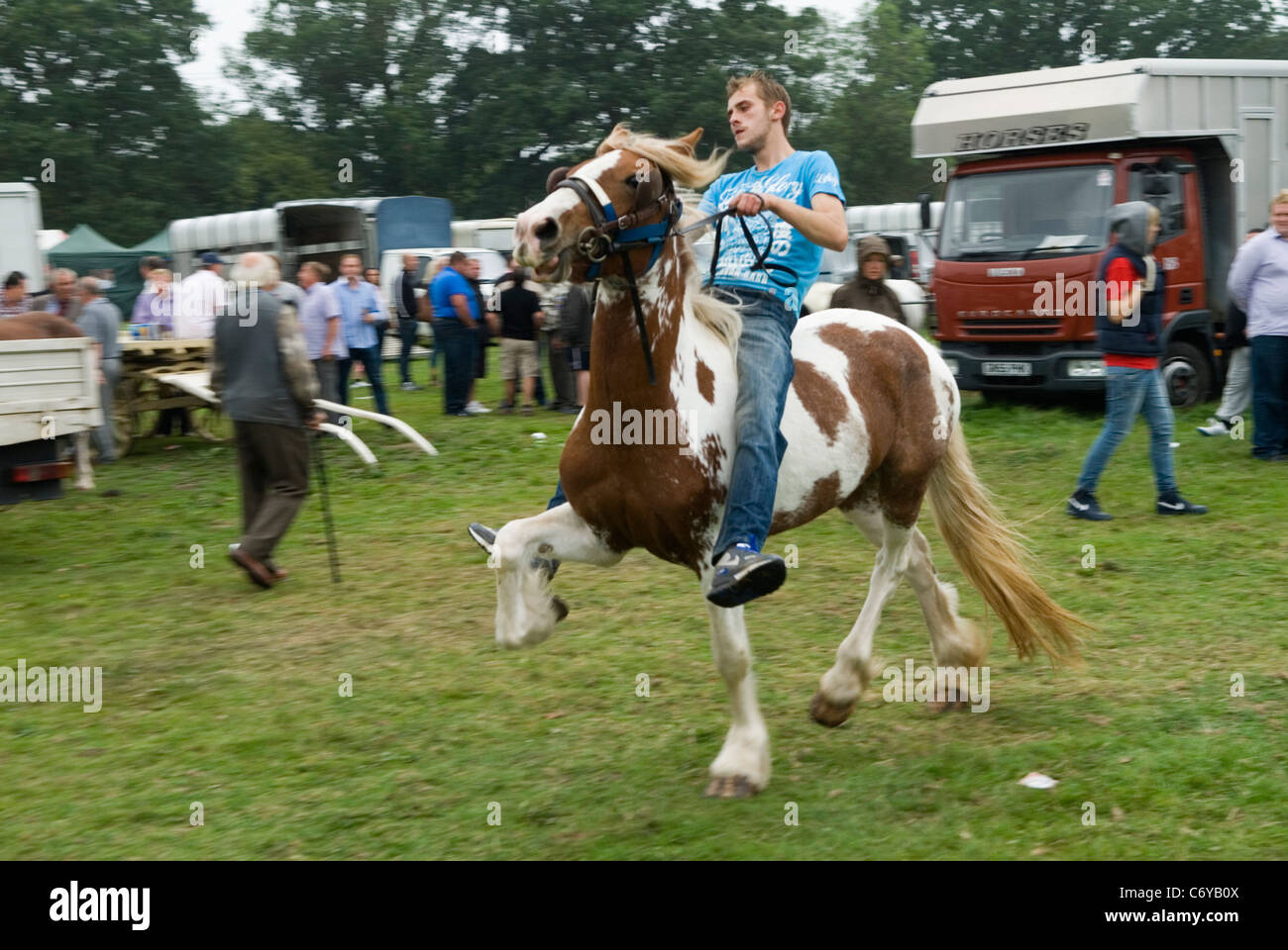 Gypsy horse fair at Stow on the Wold on a very wet day Stock Photo ...