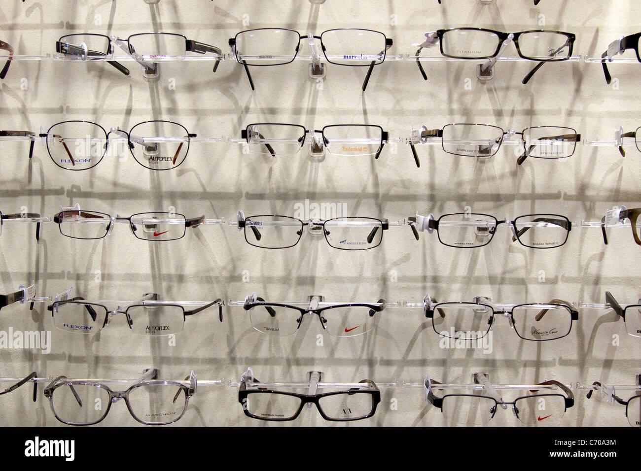 Eyeglasses display - Eyeglasses Spectacles On Display At Eye Doctor Office