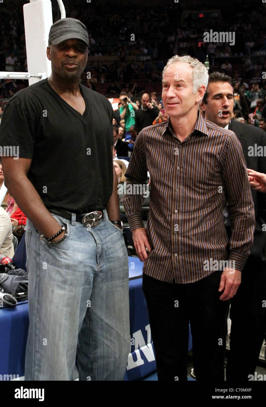 Charles Oakley and John McEnroe Celebrities at New York Knicks v