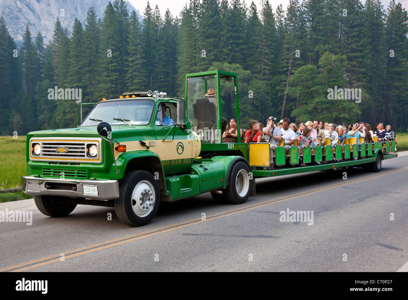 Yosemite Valley Floor Tour Bus Loaded With Tourists