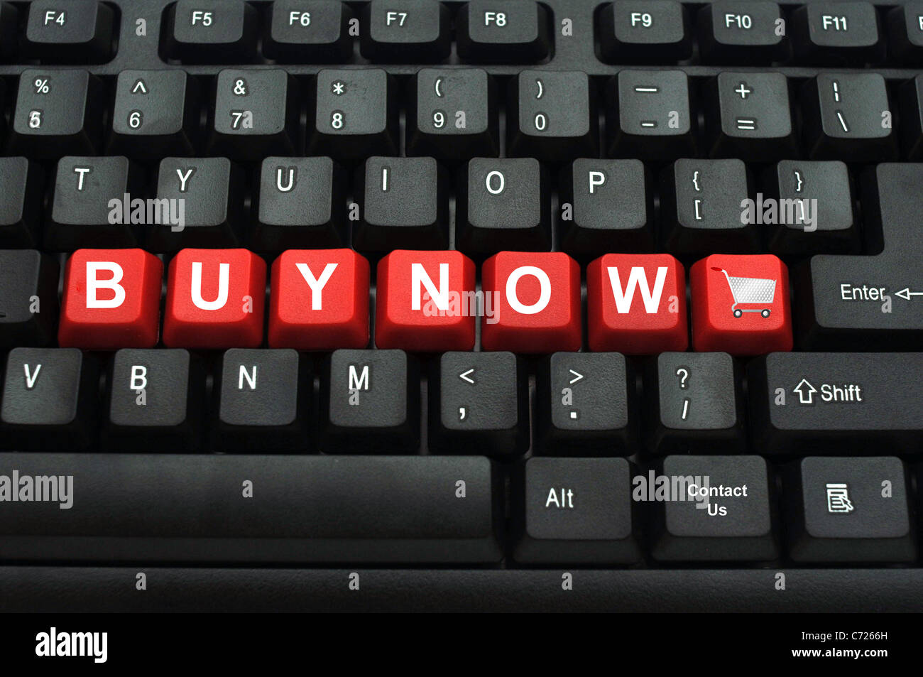Closeup of red computer keyboard key with shopping cart symbol and closeup of red computer keyboard key with shopping cart symbol and buy now buycottarizona Gallery