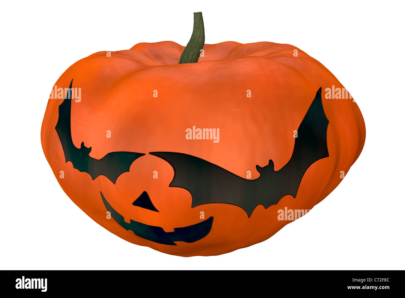 high quality rendering of hallo-ween pumpkin with spooky face ...
