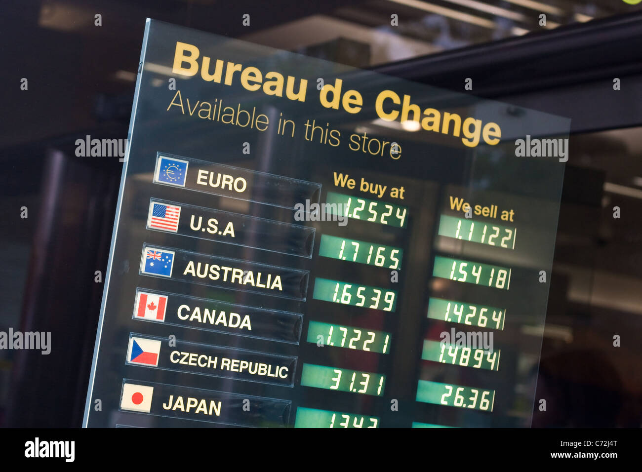 Exchange rates advertised at a Bureau de Change in the UK Stock