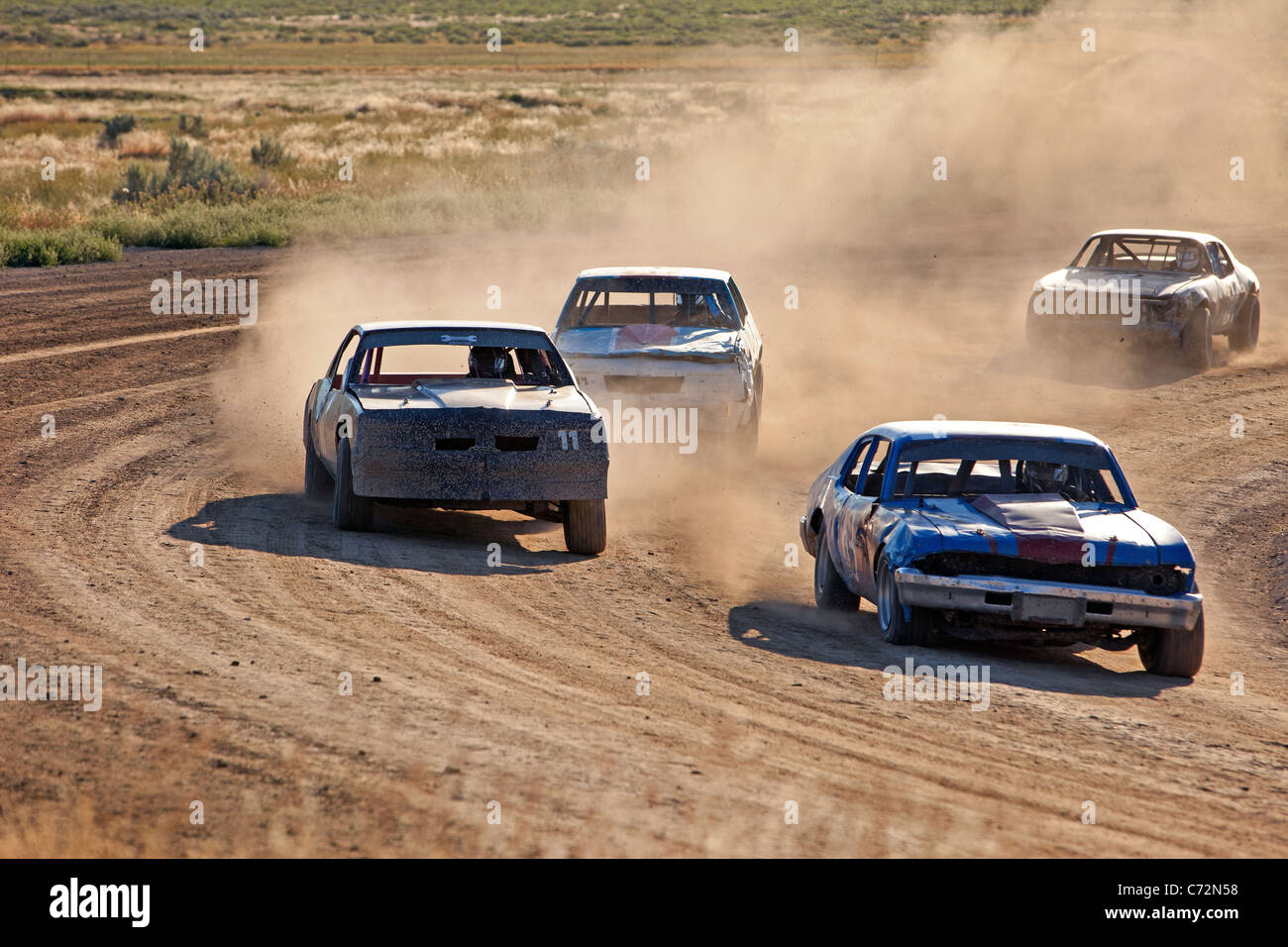 Race Cars High Speed Dangerous On Dirt Oval Course Highly
