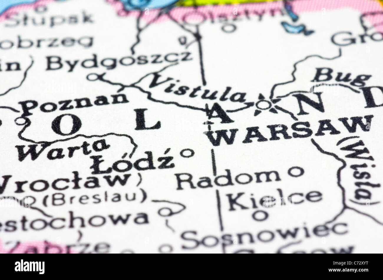 close up of warsaw on map capital city of poland stock photo
