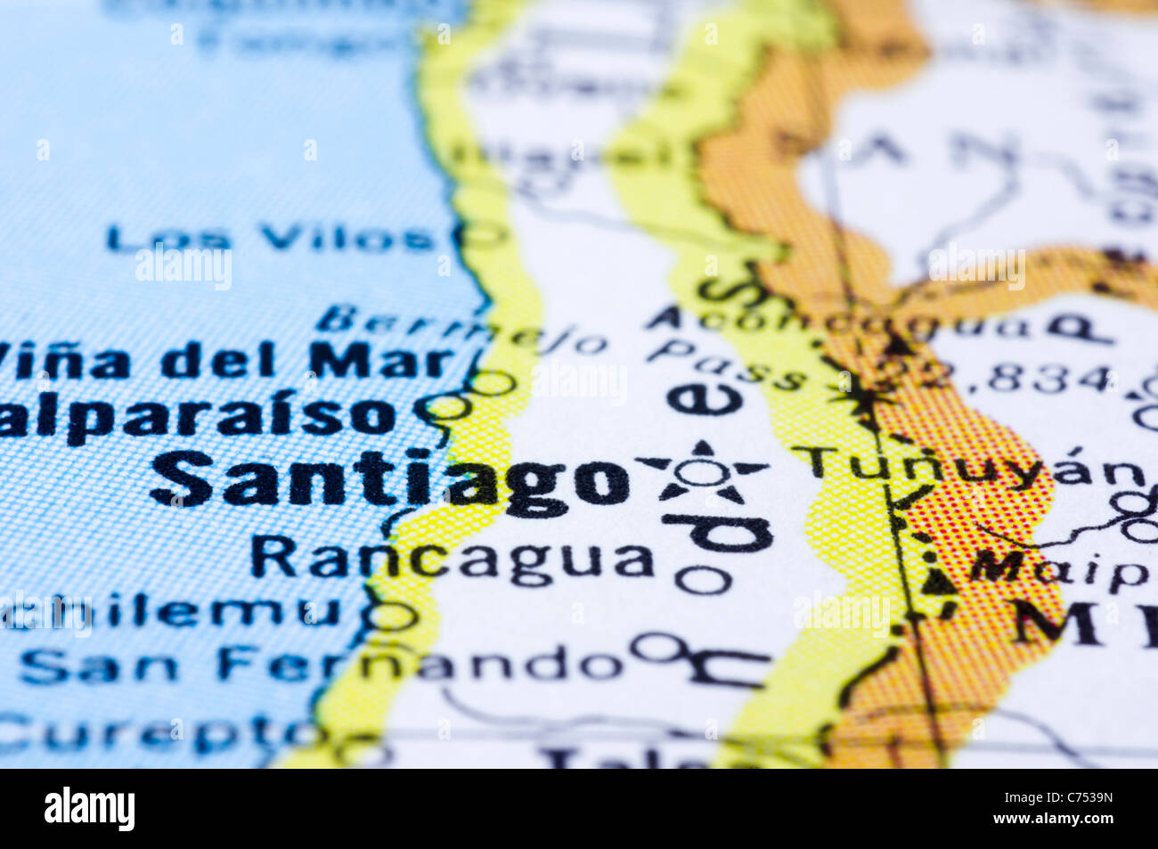 A Close Up Shot Of Santiago On Map Capital Of Chile Stock Photo - South america map gran chaco