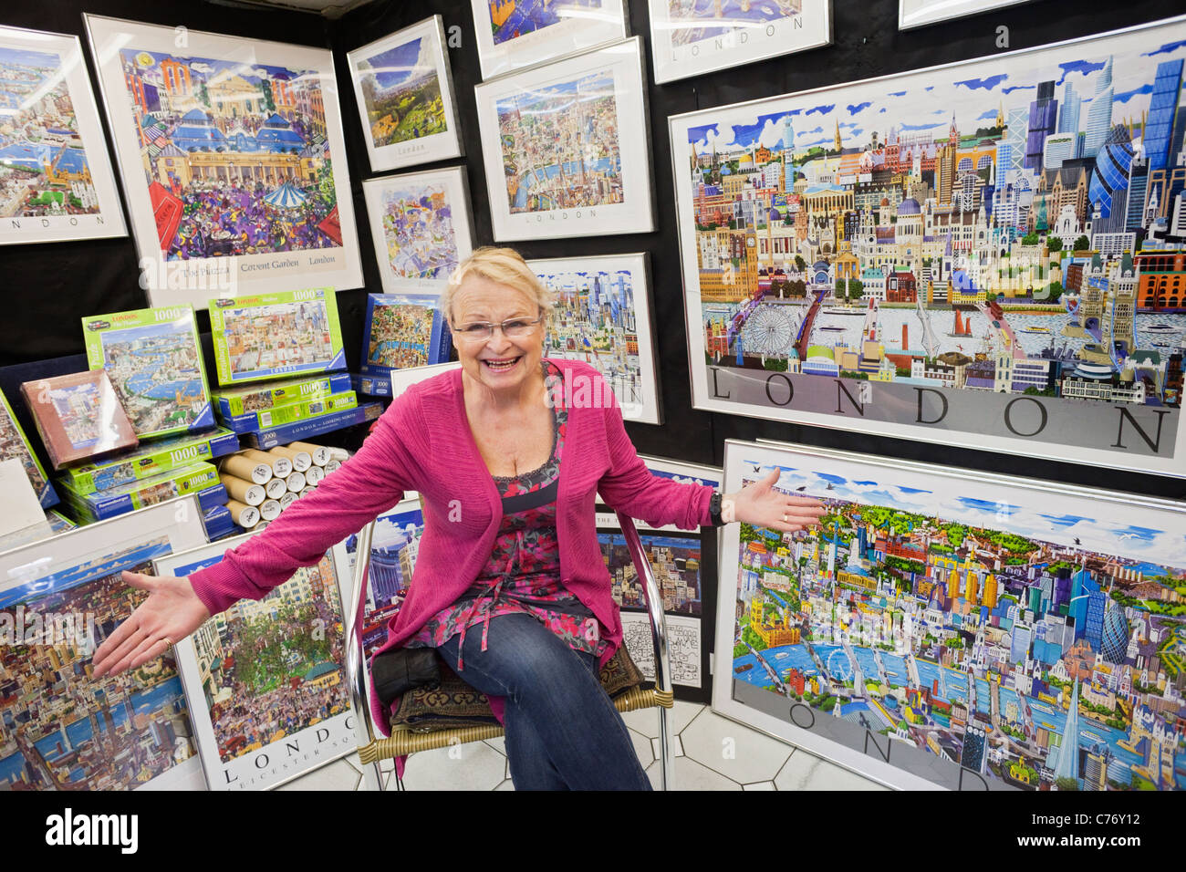 England, London, Covent Garden, Jubilee Market, Poster Shop Stock ...