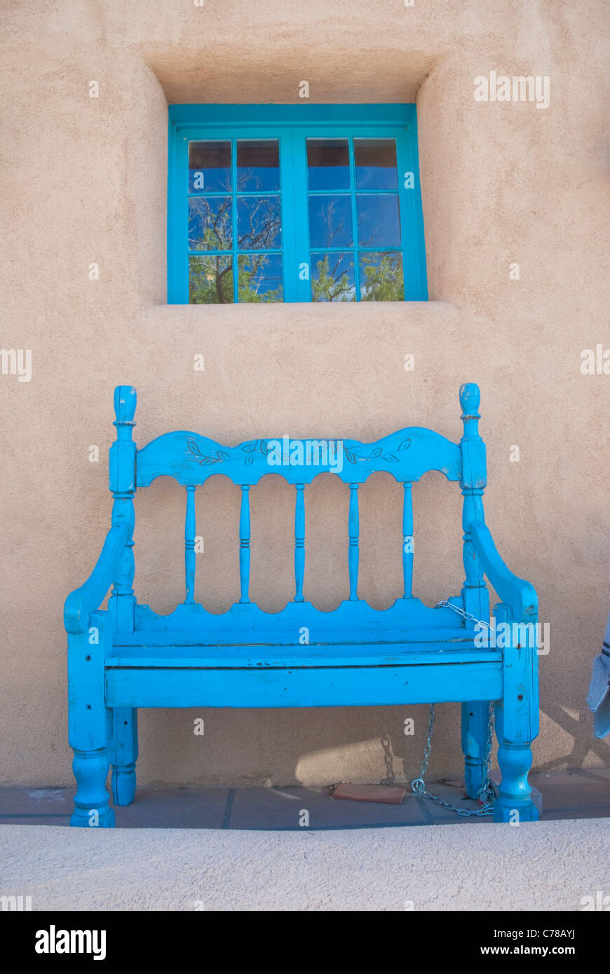Southwestern blue accents doors windows and benches on Canyon Road in Santa Fe New Mexico & Southwestern blue accents doors windows and benches on Canyon Road ...