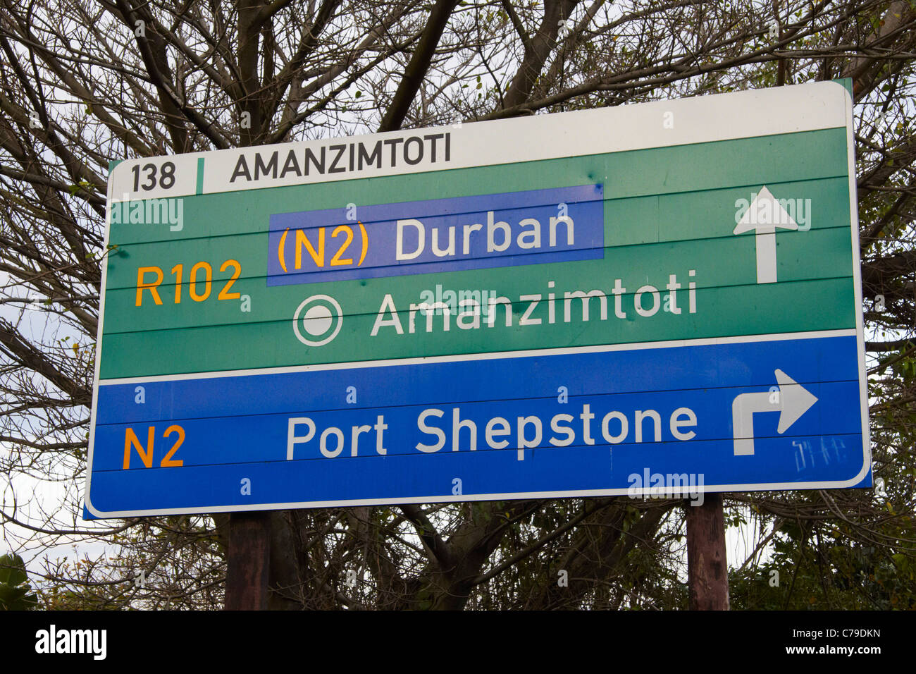 South african road sign stock photos south african road sign road sign to durban and port shepstone at amanzimtoti kwazulu natal south africa biocorpaavc Choice Image