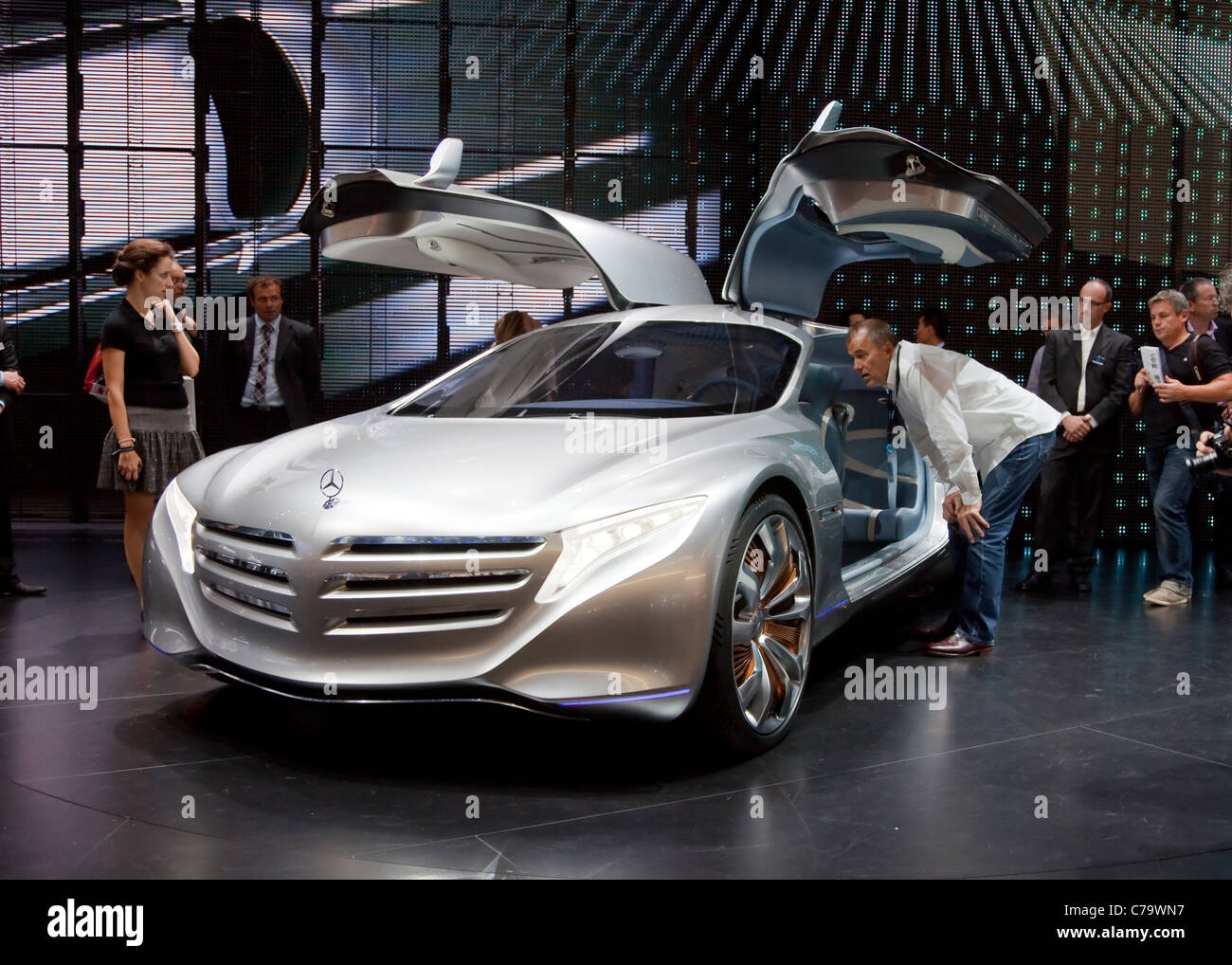 New mercedes benz concept car f125 on the iaa 2011 international stock photo royalty free image - Mercedes car show ...