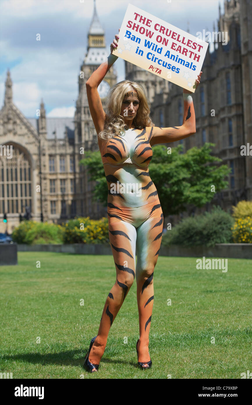 hungry tiger nude body paint