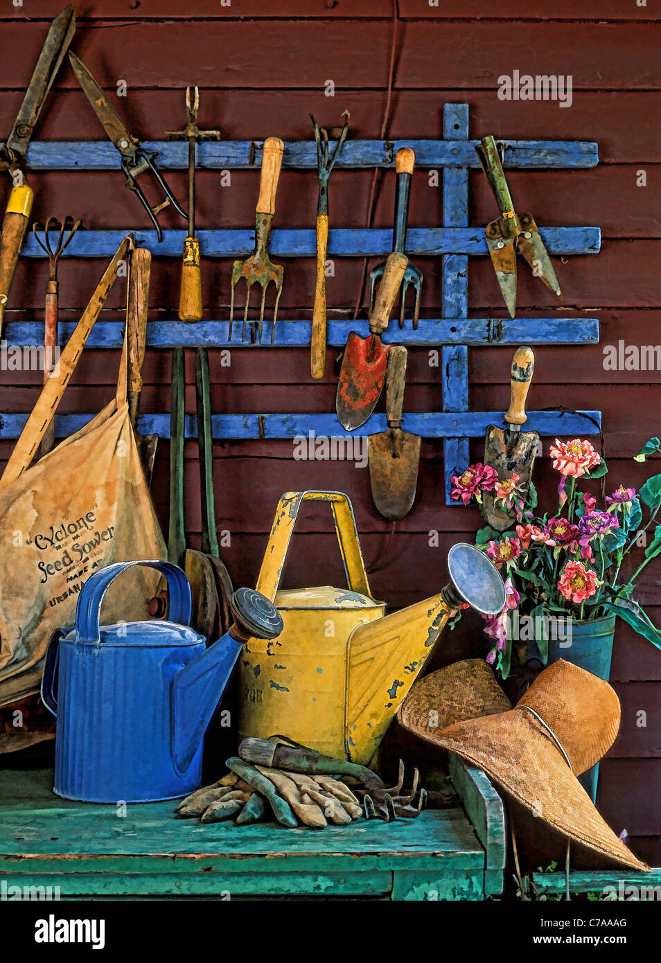 Painting effect of antique gardening tools photograph for Pretty garden tools set
