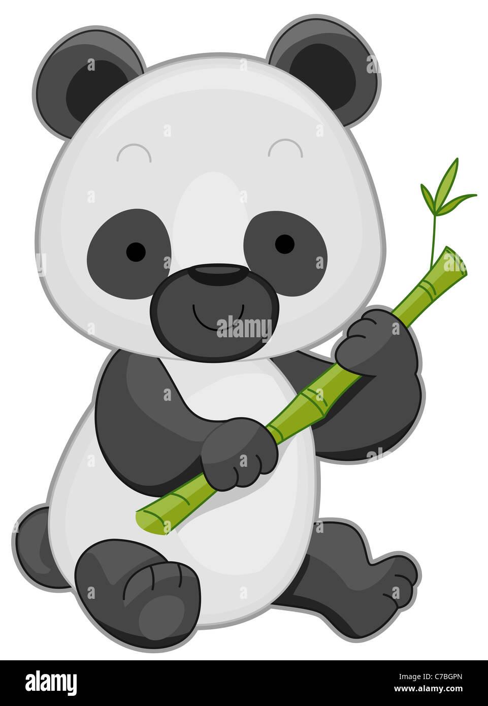 Illustration of a cute panda holding bamboo stick stock