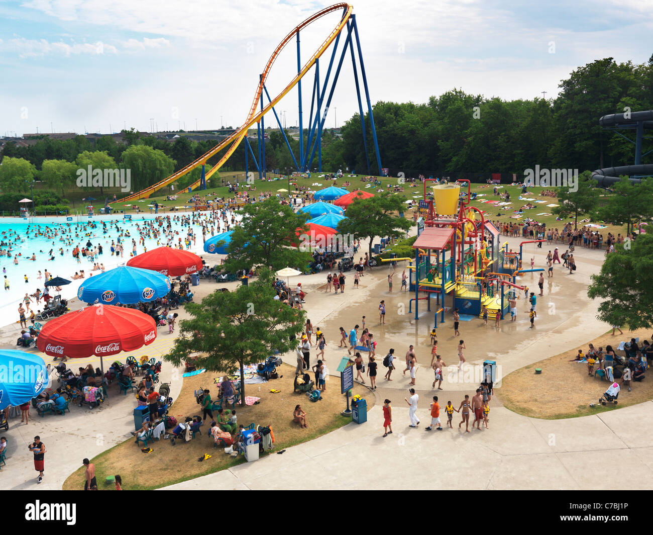 People At A Water Park Canadas Wonderland Amusement Vaughan Ontario Canada