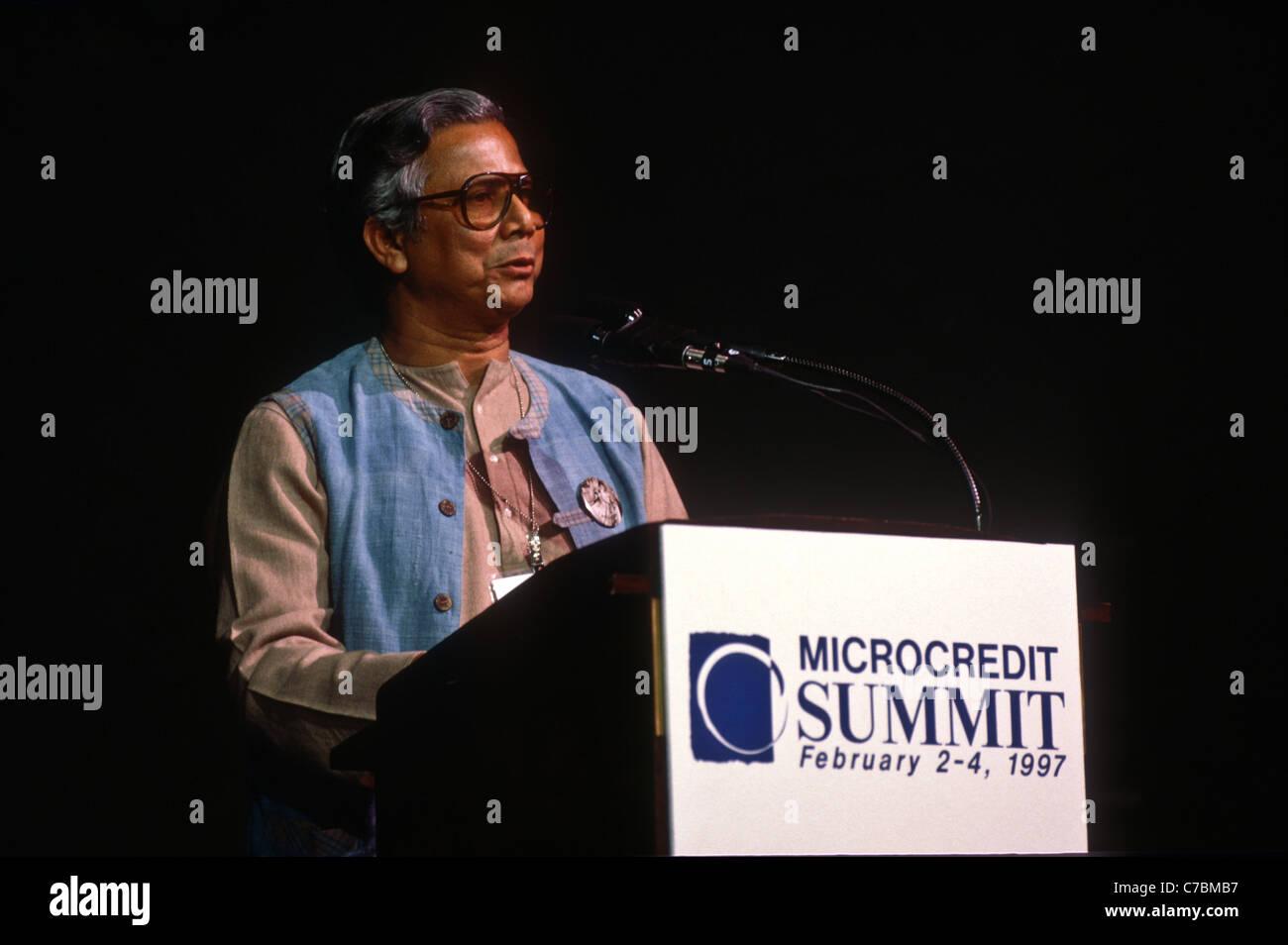 managing director of the grameen bank of bangladesh muhammad yunus at the microcredit summit stock