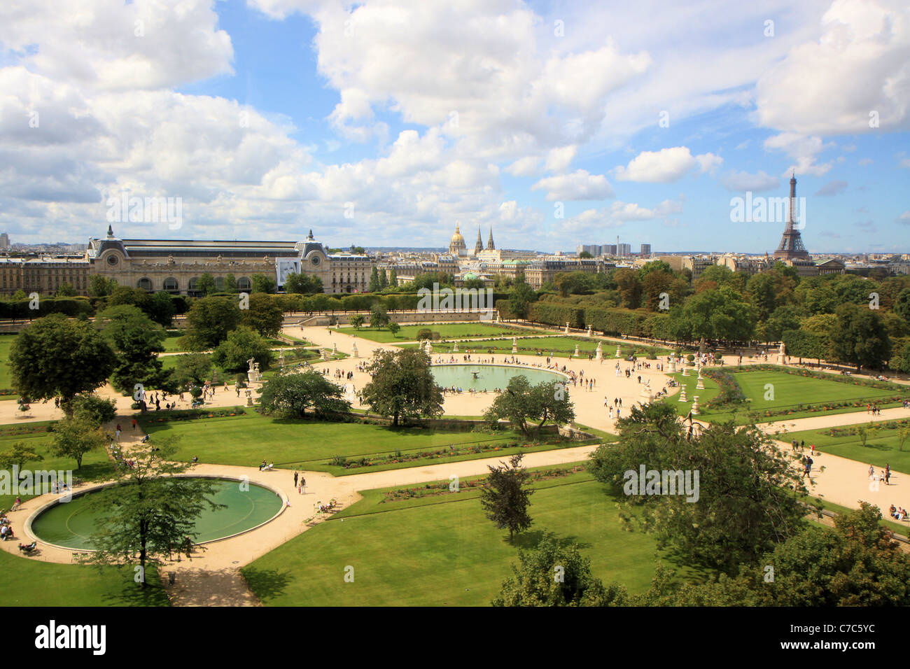 Aerial view of jardin des tuileries from the great wheel for France jardin