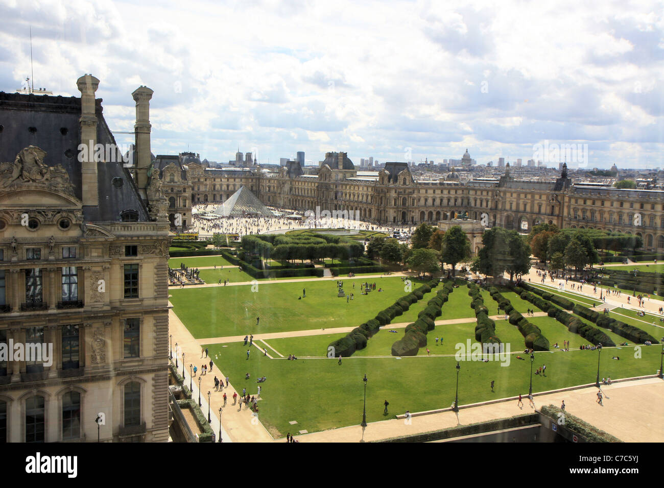 Aerial view of jardin des tuileries and pyramid from the for Jardin tuileries