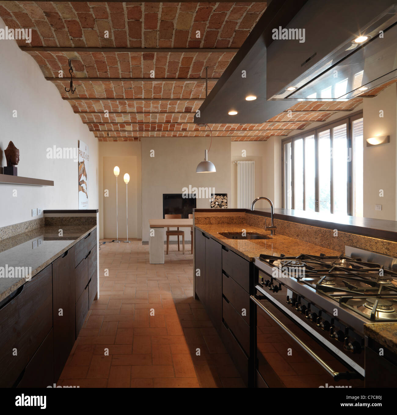 modern kitchen in the rustic house with terracotta ceiling and
