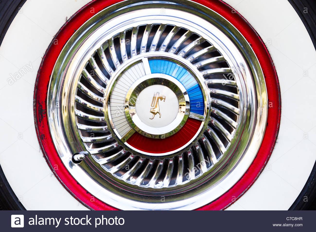 Whitewall wheel rim on a Ford Fairlane Galaxie classic ...