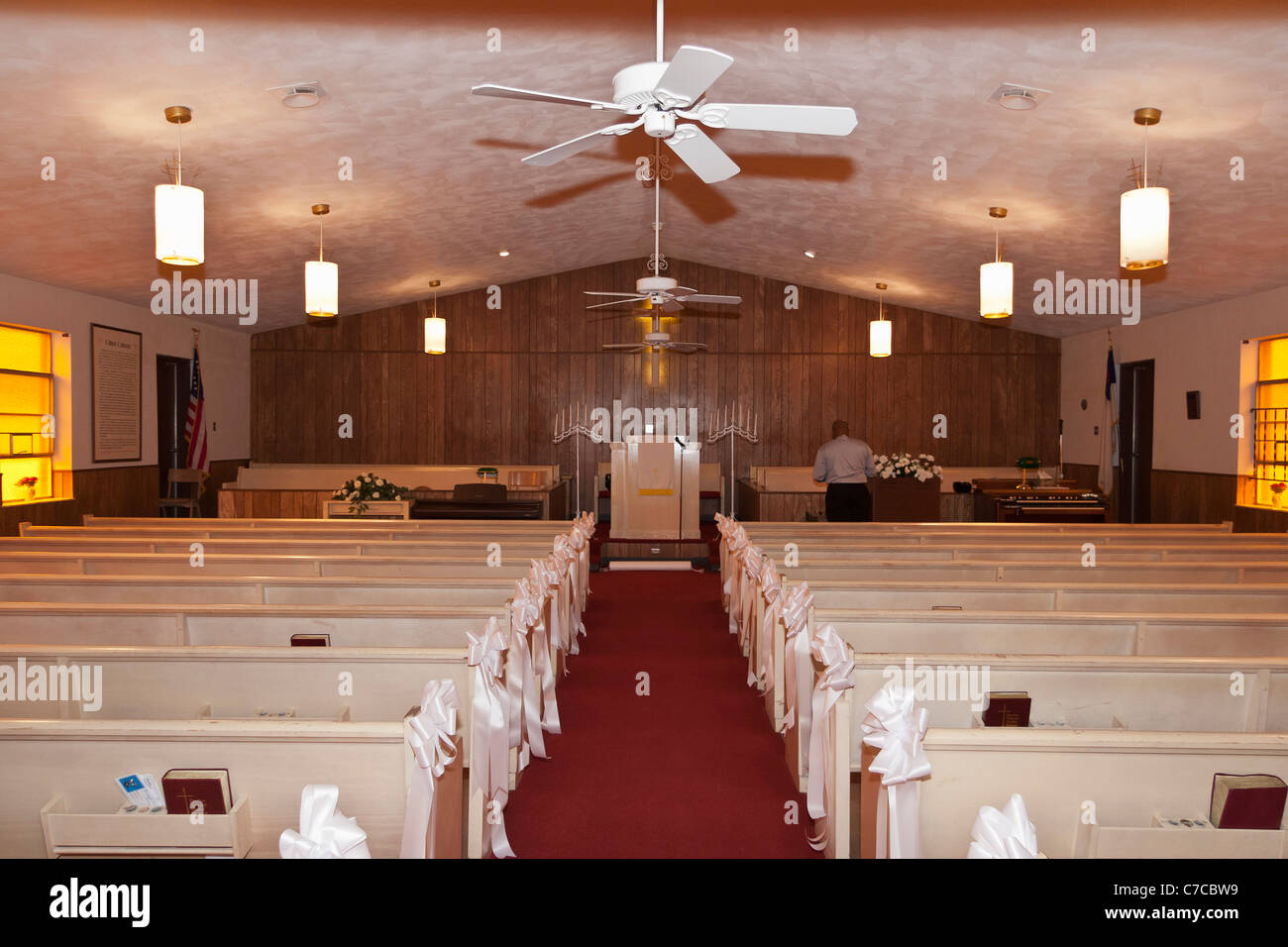 Inside A Small Baptist Church Decorated For The Wedding Ceremony In Stock Photo Royalty Free