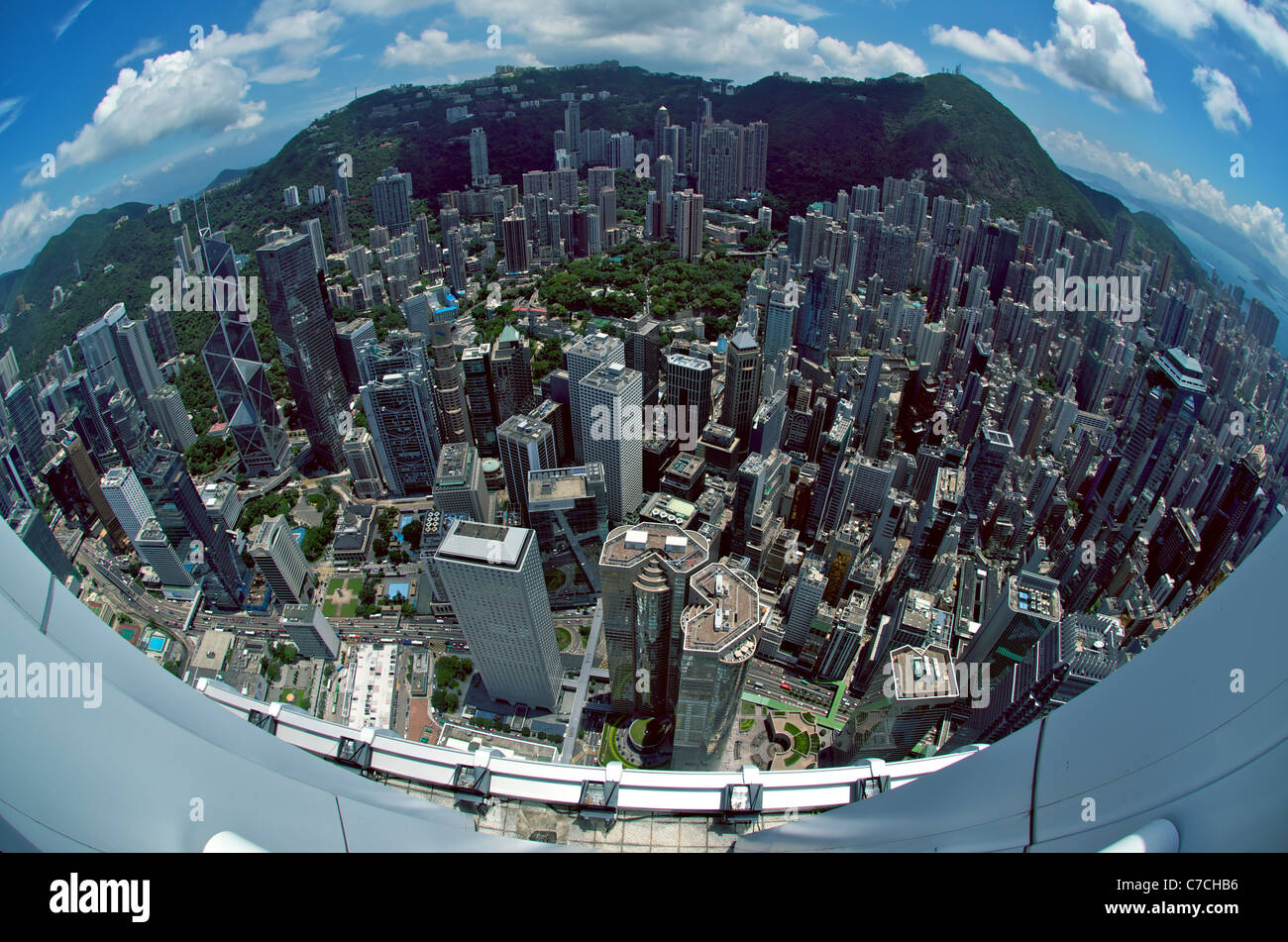 Fisheye Aerial View Of Central Hong Kong From The Rooftop