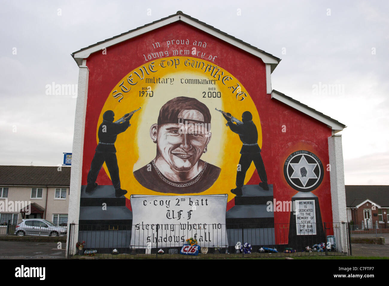 Stevie mckeag terrorist uff loyalist wall mural painting for Mural northern ireland