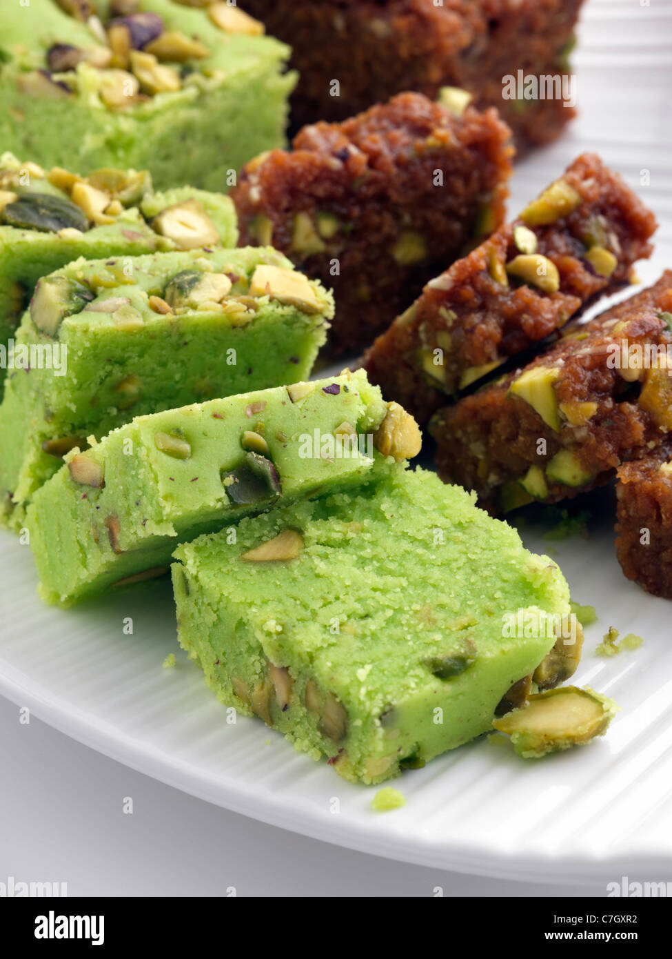 Pakistani confection indian sweets pistachio barfi stock for Confection cuisine