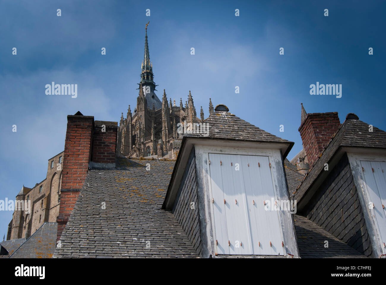 Roof Tops With Lichen Covered Slates And White Shutters