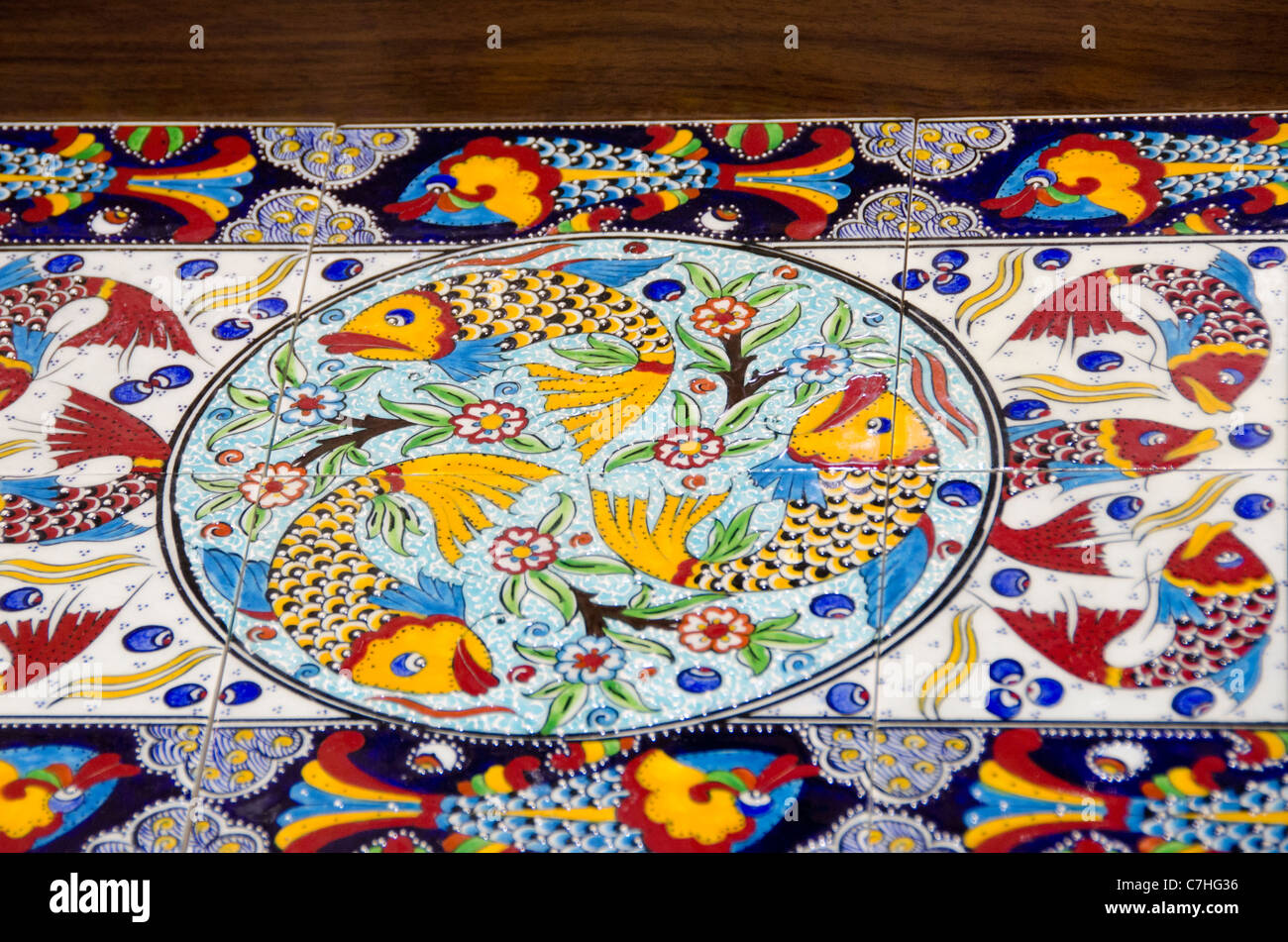 Turkey Istanbul Colorful hand painted Turkish tiles with fish