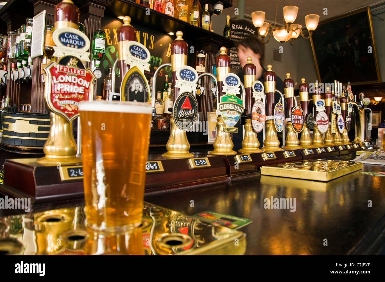 real ale hand pumps in a bar pub stock photo royalty free image 39127866 alamy. Black Bedroom Furniture Sets. Home Design Ideas