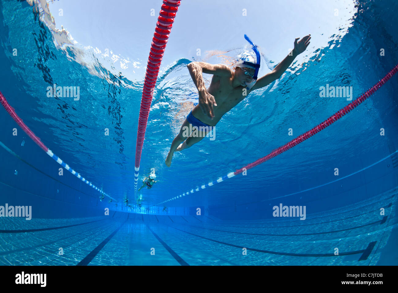 stock photo swimmers training in an open air olympic swimming pool france underwater view - Olympic Swimming Pool Underwater