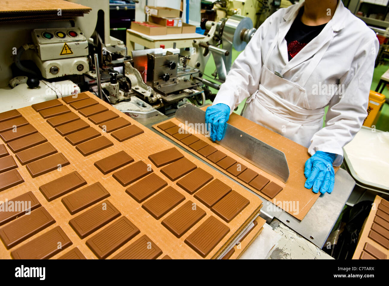 Switzerland, Giubiasco, Stella chocolate factory, making ...