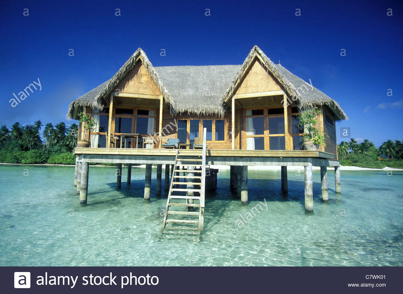 A Bungalow On The Dream Beach Tourist Island Maldives In Indian Ocean