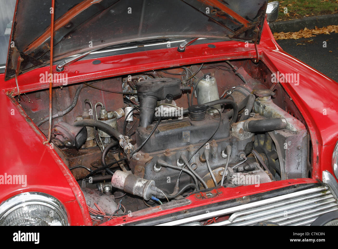engine of mini cooper car at a classic car rally Stock Photo ...