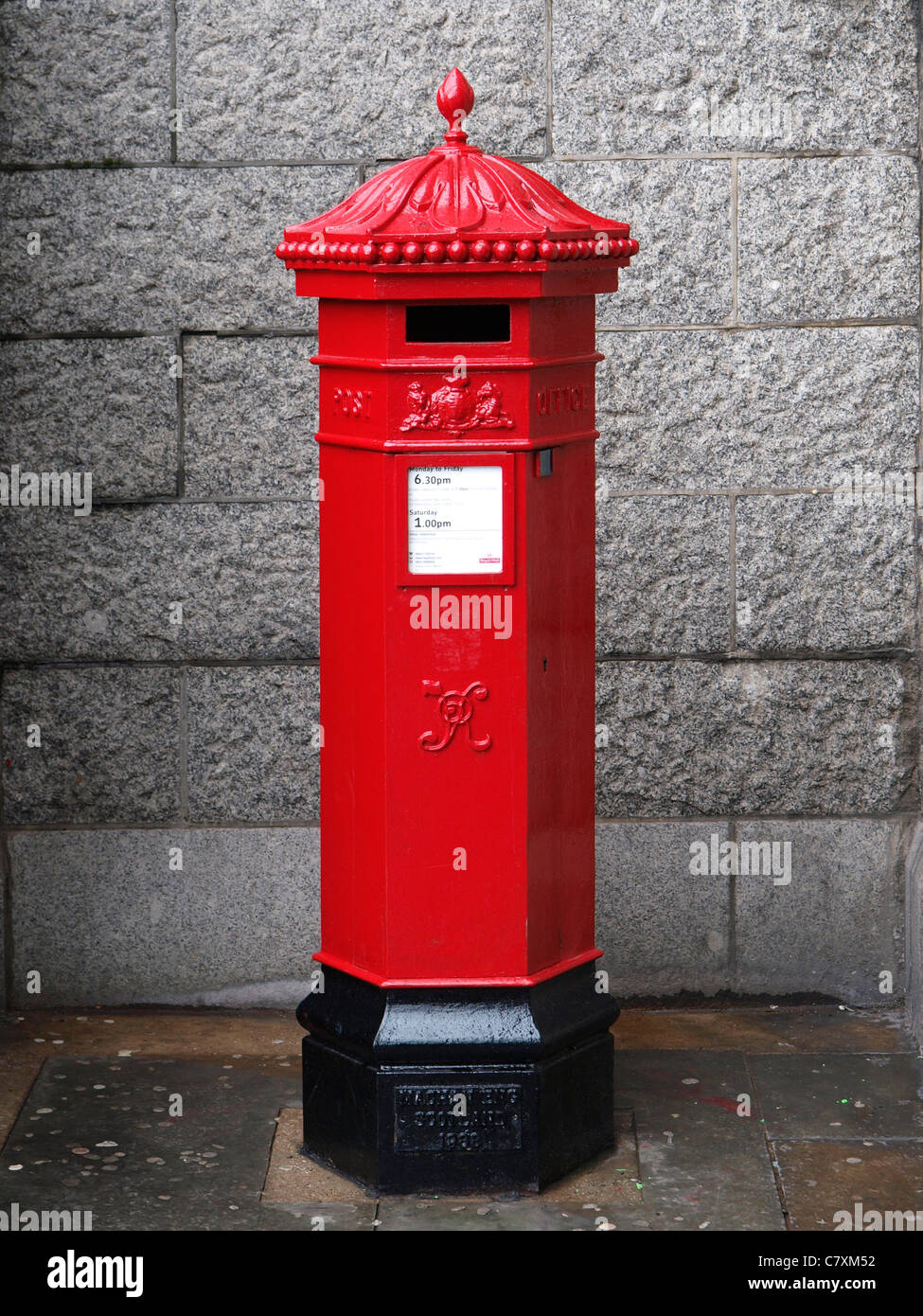 stock photo vintage antique victorian royal mail letterbox mailbox near tower bridge london uk