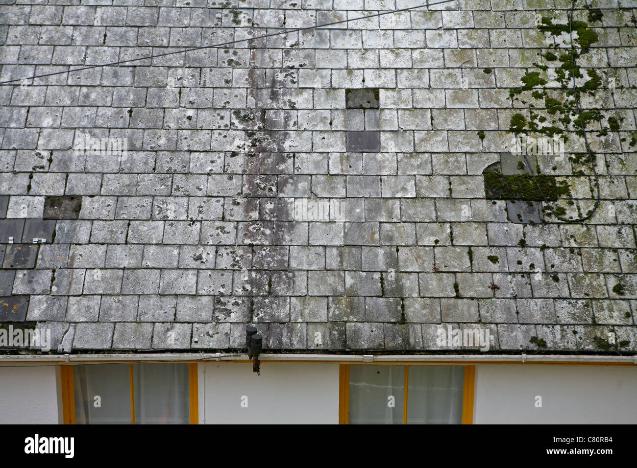 discolored roof tiles