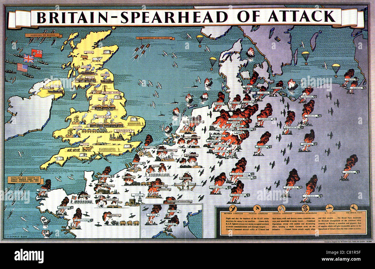 Britain spearhead of attack british ww2 poster shows the uk as britain spearhead of attack british ww2 poster shows the uk as the industrial powerhouse and platform for attack on europe gumiabroncs Images