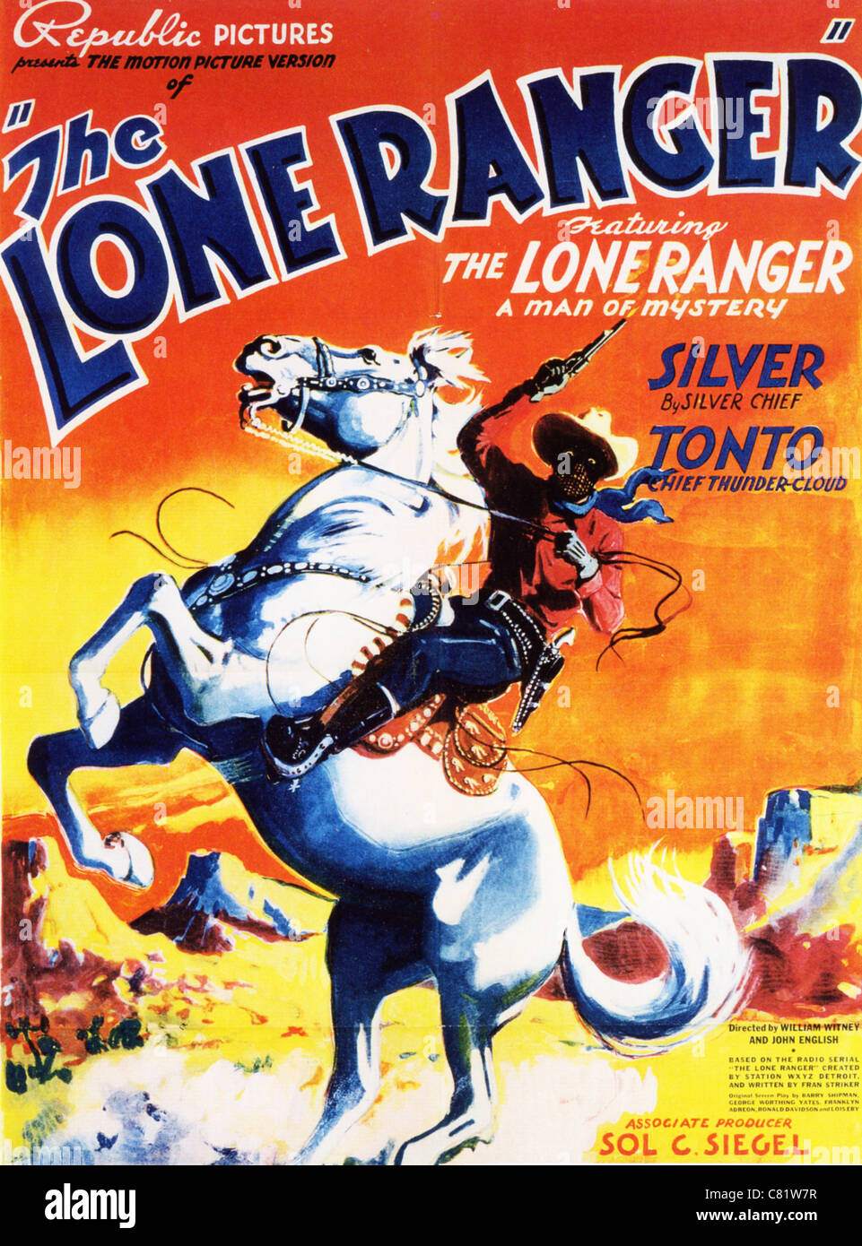 the lone ranger poster for 1938 republic pictures bw film