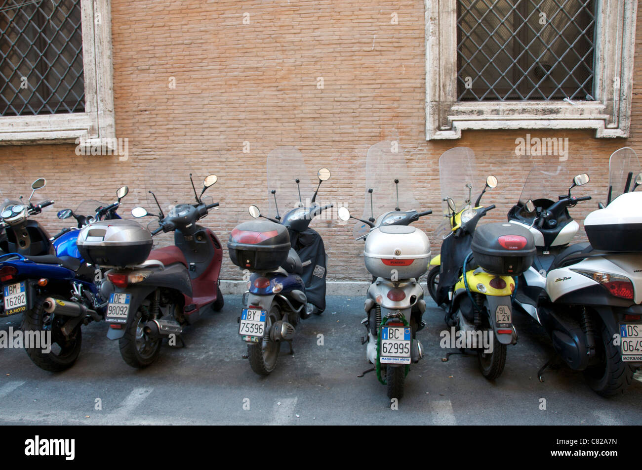 Motor Scooters In The Historic Town Of Rome Italy Europe